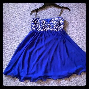 Royal blue formal dress with embellishments